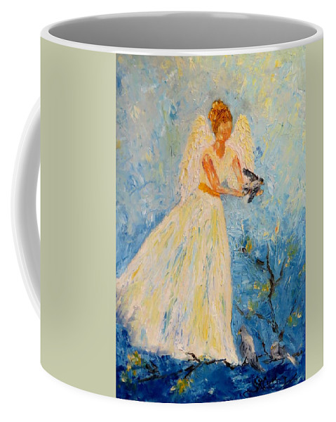 Angel Coffee Mug featuring the painting Free At Last, Angel by Sandra Reeves
