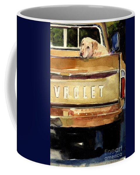 Dog Coffee Mug featuring the painting Free Ride by Molly Poole