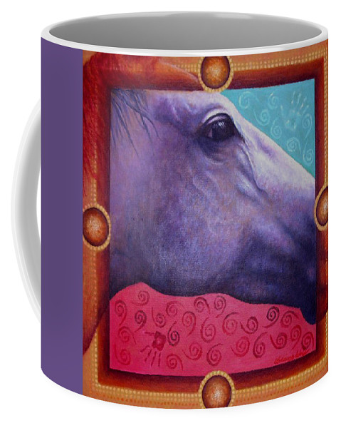 Native American Coffee Mug featuring the painting Freedom by Kevin Chasing Wolf Hutchins