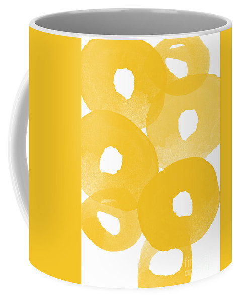 Abstract Flowers Coffee Mug featuring the painting Freesia Splash by Linda Woods
