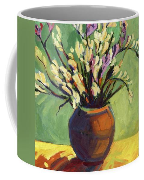 Freesias Coffee Mug featuring the painting Freesias by Konnie Kim