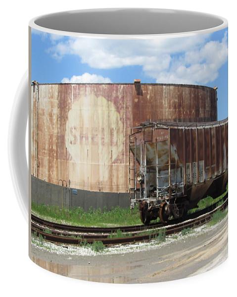 Train Coffee Mug featuring the photograph Freight Train Cars 4 by Anita Burgermeister