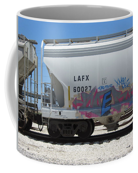 Train Coffee Mug featuring the photograph Freight Train Graffiti 7 by Anita Burgermeister