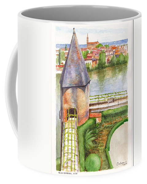 Tower Coffee Mug featuring the painting French Battlement Tower by Dai Wynn