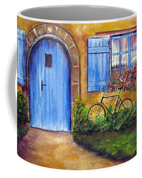 French Coffee Mug featuring the painting French Cottage by Loretta Luglio