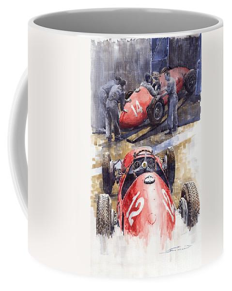 Watercolour Coffee Mug featuring the painting French Gp 1952 Ferrari 500 F2 by Yuriy Shevchuk