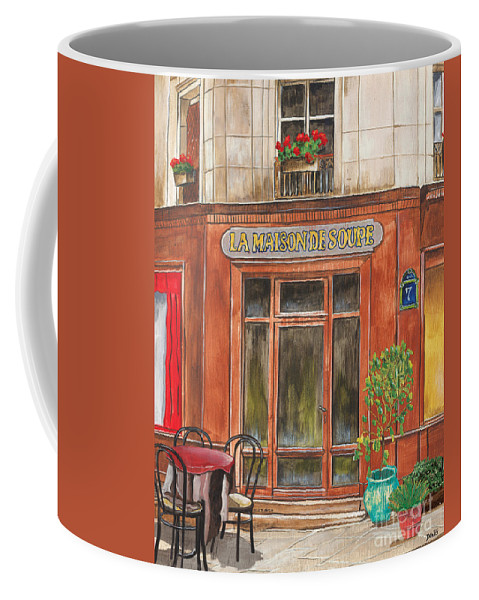 Restaurant Coffee Mug featuring the painting French Storefront 1 by Debbie DeWitt