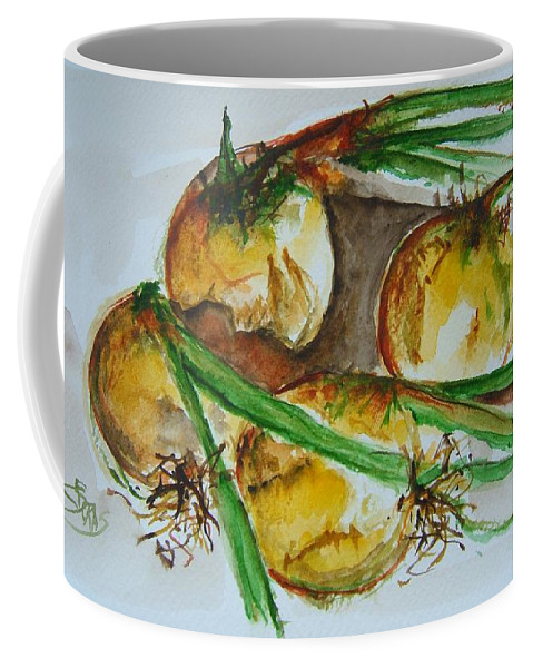 Garden Vegetable Coffee Mug featuring the painting Fresh Onions by Elaine Duras