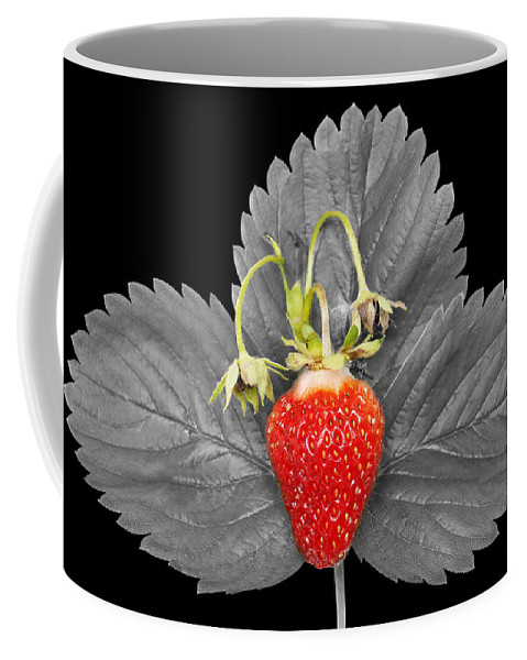 Fresh Coffee Mug featuring the photograph Fresh Strawberry And Leaves by Donald Erickson