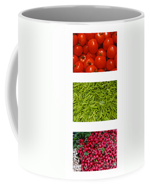 Tomato Coffee Mug featuring the photograph Fresh Vegetable Triptych by Thomas Marchessault