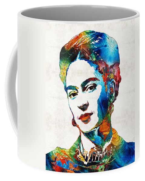 Frida Kahlo Coffee Mug featuring the painting Frida Kahlo Art - Viva La Frida - By Sharon Cummings by Sharon Cummings