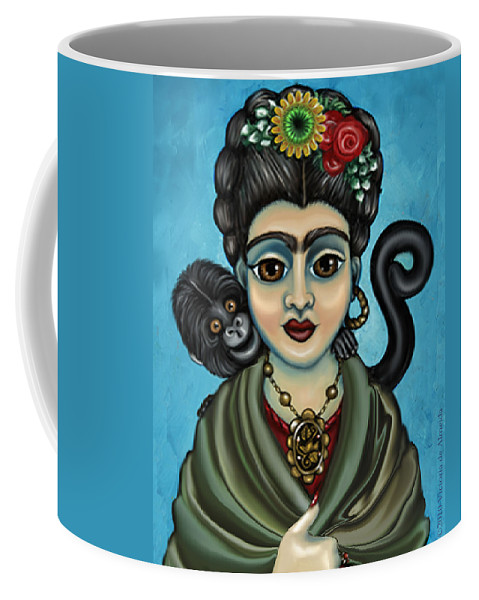 Frida Coffee Mug featuring the painting Frida's Monkey by Victoria De Almeida