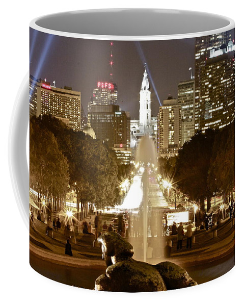 Art Museum Philadelphia Lights Nighttime Coffee Mug featuring the photograph Friday On The Art Museum Steps by Alice Gipson