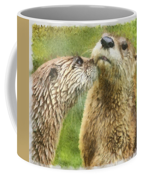 Watercolor Coffee Mug featuring the photograph Friends by Ingrid Smith-Johnsen