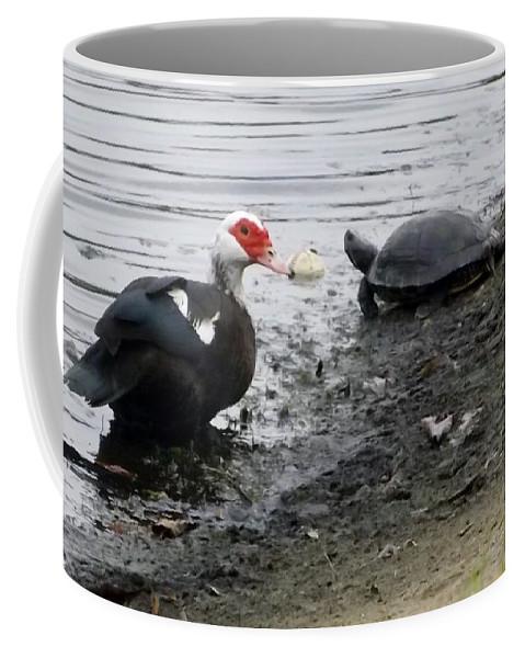Duck Coffee Mug featuring the photograph Friends by Linda Kerkau