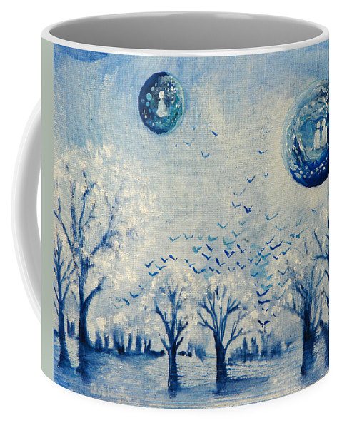 Blue Coffee Mug featuring the painting Friendships Gaze by Ashleigh Dyan Bayer