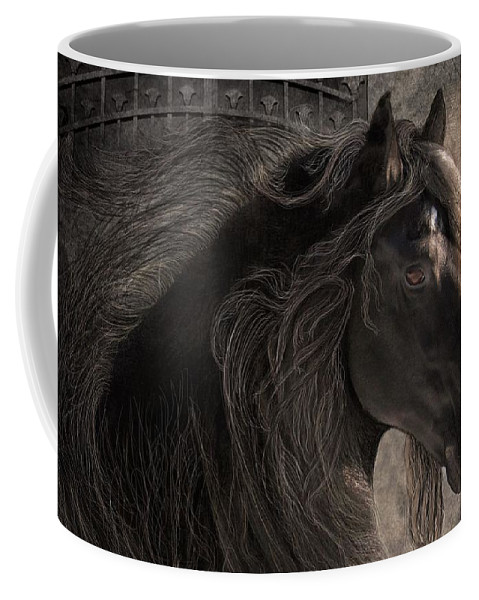 Friesian Horses Coffee Mug featuring the digital art Friesian Glow by Fran J Scott