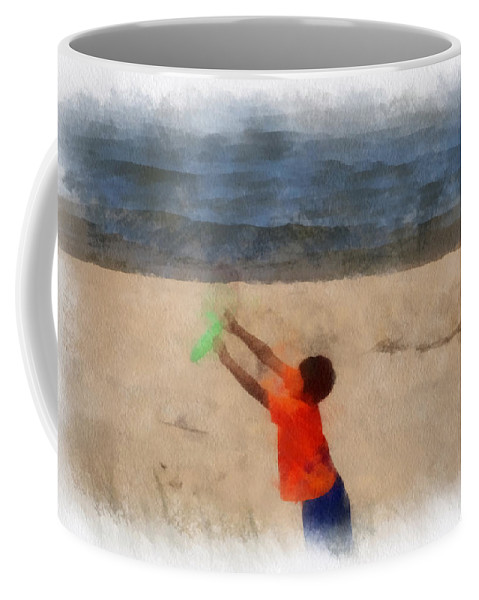 Frisbee Coffee Mug featuring the photograph Frisbee On The Beach Photo Art by Thomas Woolworth