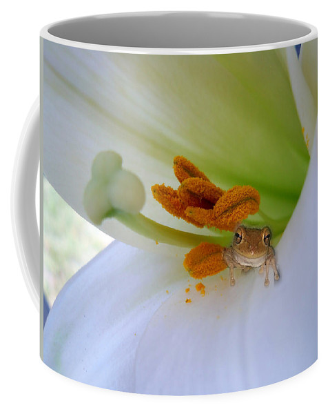 Frog Coffee Mug featuring the photograph Frog In The Lily by Judy Hall-Folde