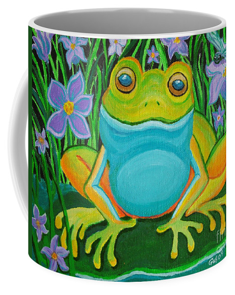 Ffrog Art Coffee Mug featuring the painting Frog On A Lily Pad by Nick Gustafson