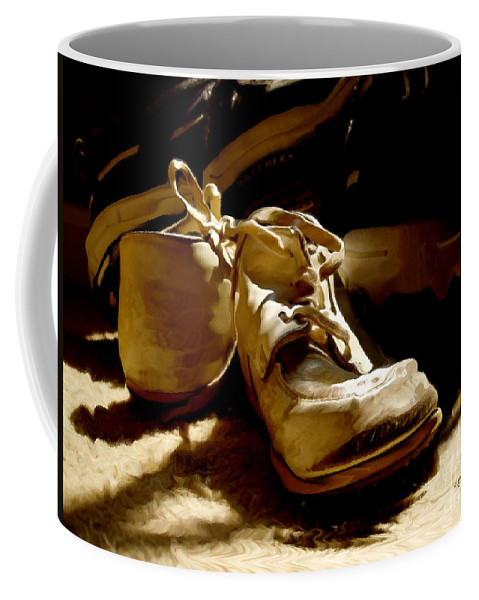 Shoe Coffee Mug featuring the photograph From Baby To Man In The Blink Of An Eye by Lois Bryan