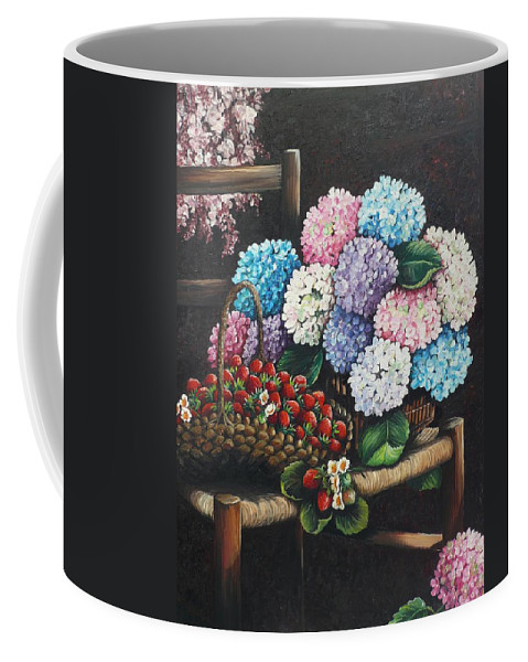 Hydrangea Paintings Floral Paintings Botanical Paintings Flower Paintings Blooms Hydrangeas Strawberries Paintings Red Paintings Basket Paintings Pink Paintings Garden Paintings  Blue Paintings  Greeting Card Paintings Canvas Paintings Poster Print Paintings  Coffee Mug featuring the painting From My Garden by Karin Dawn Kelshall- Best