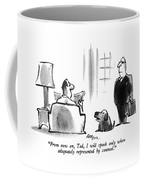 Dog Coffee Mug featuring the drawing From Now by Lee Lorenz