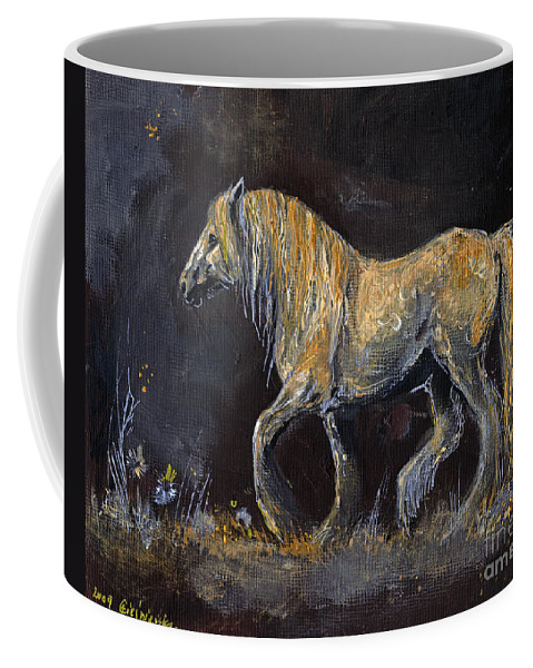 Shire Horse Coffee Mug featuring the painting From The Darkness by Angel Ciesniarska