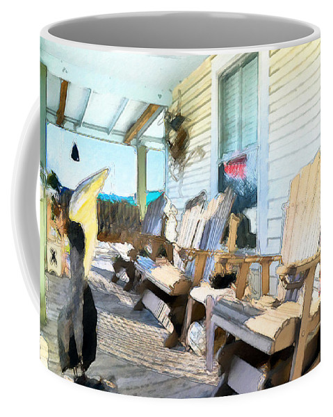 American Coffee Mug featuring the painting Front Porch On An Old Country House 2 by Jeelan Clark