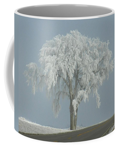 Landscape Coffee Mug featuring the photograph Frost Covered Lone Tree by Penny Meyers