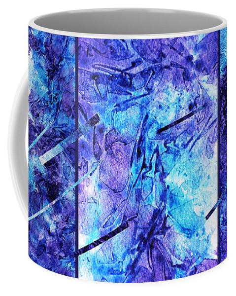 Frozen Coffee Mug featuring the painting Frozen Castle Window Blue Abstract by Irina Sztukowski