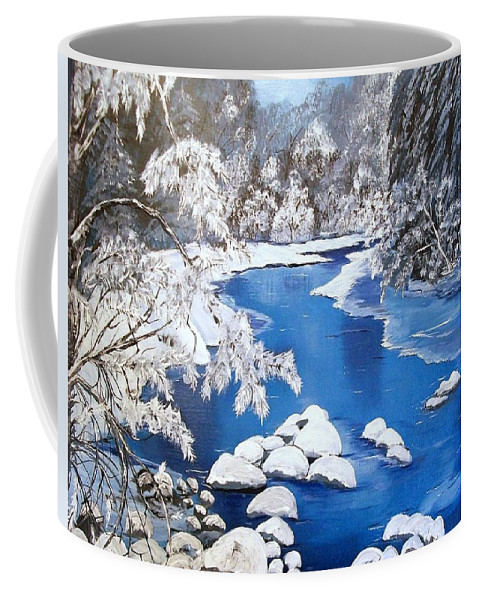Snow Coffee Mug featuring the painting Frosty Morning by Sharon Duguay