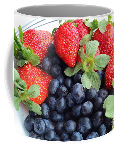 Fruit Coffee Mug featuring the photograph Fruit 2- Strawberries - Blueberries by Barbara Griffin