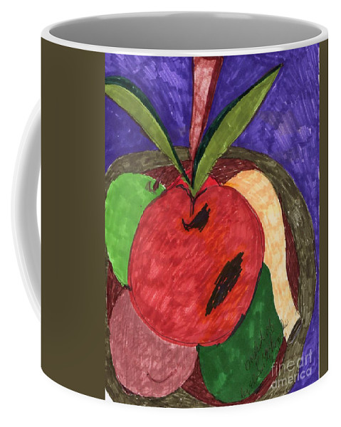 A Green And Red Apple An Avocado And Plum Coffee Mug featuring the mixed media Fruit Basket by Elinor Rakowski