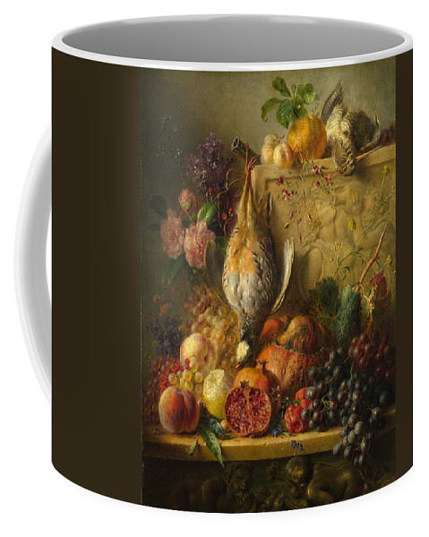 Georgius Jacobus Johannes Van Os Coffee Mug featuring the painting Fruit Flowers And Game by Georgius Jacobus Johannes van Os