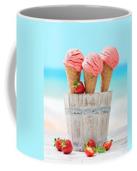 Strawberry Coffee Mug featuring the photograph Fruit Ice Cream by Amanda Elwell