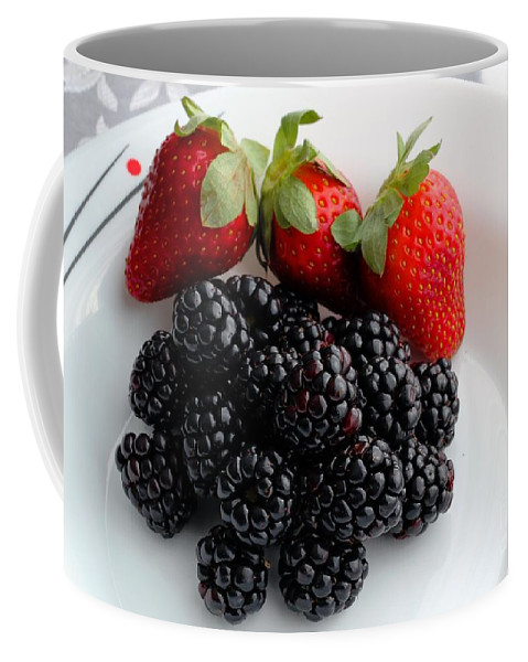 Fruit Coffee Mug featuring the photograph Fruit IIi - Strawberries - Blackberries by Barbara Griffin