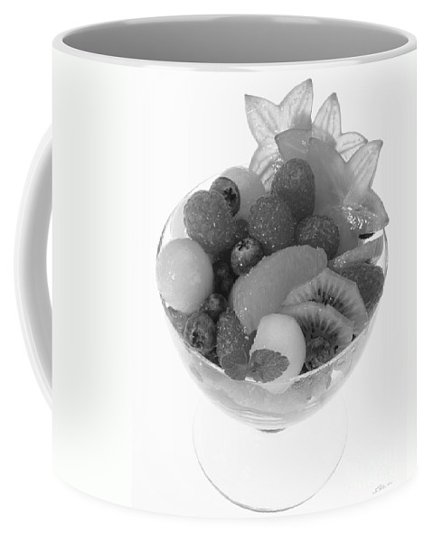 Food Coffee Mug featuring the photograph Fruit Salad Cup Black And White by Iris Richardson