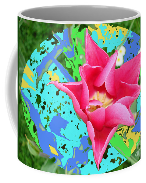 Colored-background Coffee Mug featuring the photograph Fuchsia Tulip By M.l.d. Moerings 2012 by Marion Moerings
