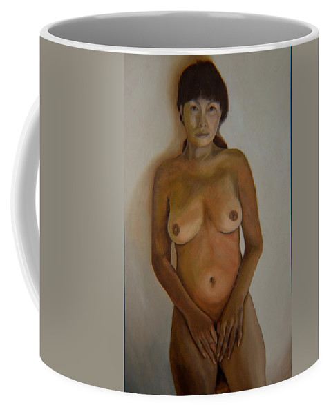 Nude Coffee Mug featuring the painting Full Frontal Well Almost by Thu Nguyen