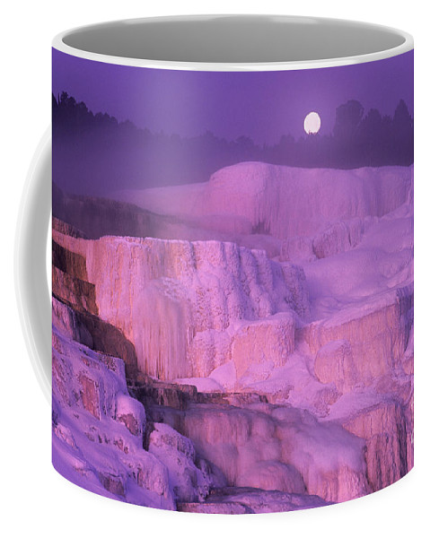 North America Coffee Mug featuring the photograph Full Moon Sets Over Minerva Springs On A Winter Morning Yellowstone National Park by Dave Welling