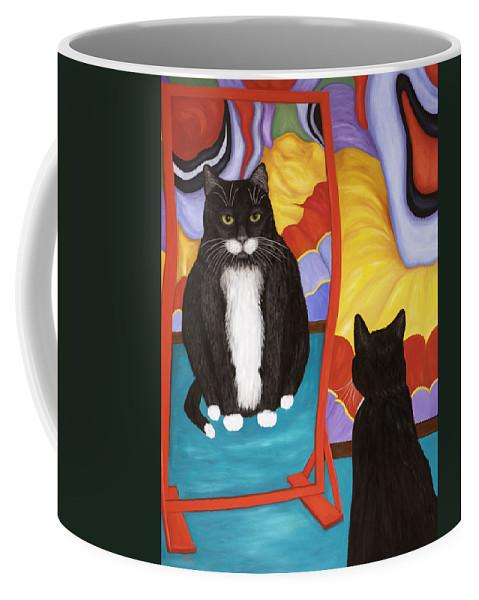 Cat Art Coffee Mug featuring the painting Fun House Fat Cat by Karen Zuk Rosenblatt