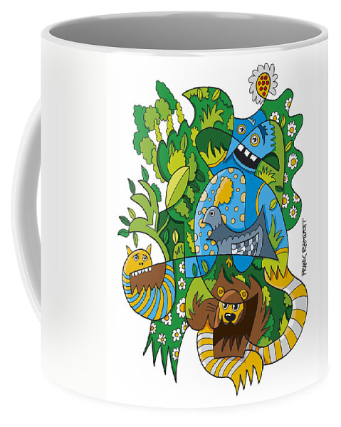 Frank Ramspott Coffee Mug featuring the digital art Funky Animals Nature Doodle by Frank Ramspott