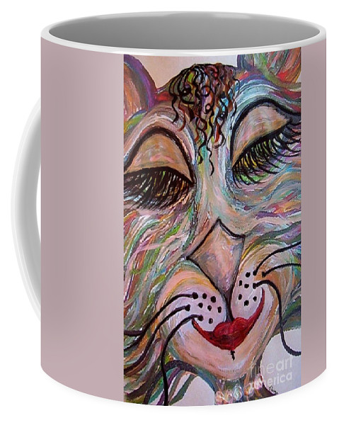 Cat Coffee Mug featuring the painting Funky Feline by Eloise Schneider Mote
