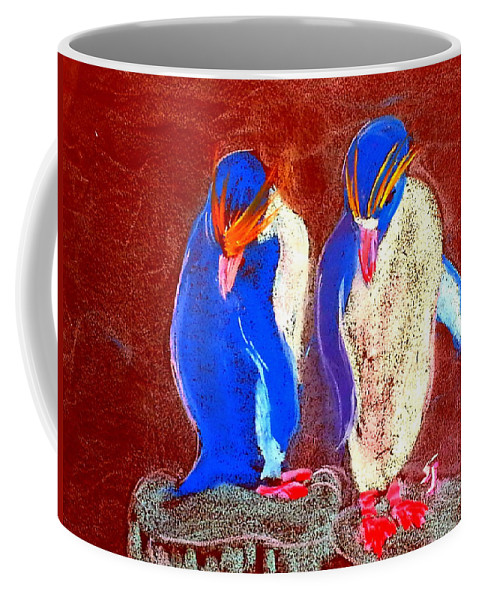 Art Coffee Mug featuring the painting Funky Rockhopper Penguins by Sue Jacobi