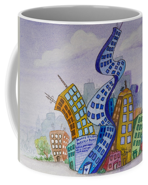 Animation Background Cityscape Cartoon Coffee Mug featuring the painting Funky Town by Brenda Salamone