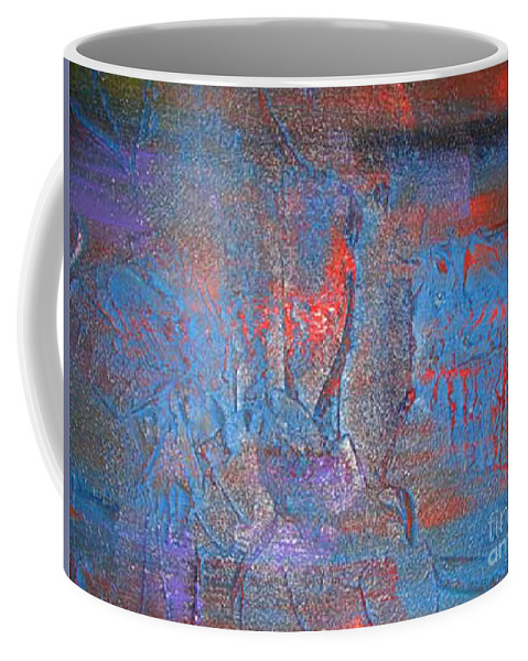 Abstract Coffee Mug featuring the painting Funny Rain by Silvana Abel