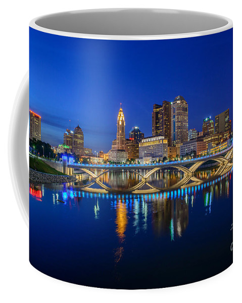 Columbus Coffee Mug featuring the photograph Fx2l530 Columbus Ohio Night Skyline Photo by Ohio Stock Photography