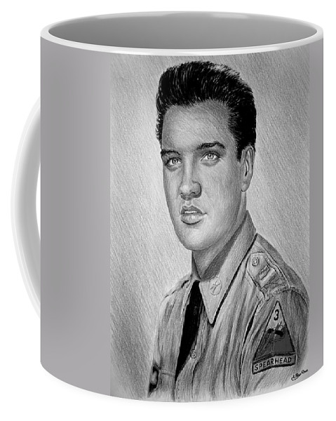 Andrew Read Coffee Mug featuring the drawing G I Elvis by Andrew Read