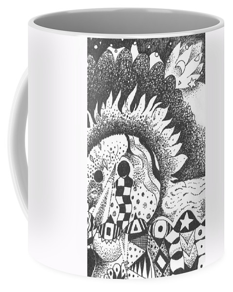 Abstract Landscape Coffee Mug featuring the drawing Gaining Knowledge In An Unknown Territory by Helena Tiainen